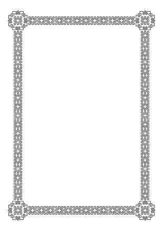 interlaced: Black ornate frame, interlaced lines. A4 page proportions. Illustration