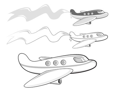 jets: Cartoon jets carrying a banner. Black, white and gray colors. Illustration