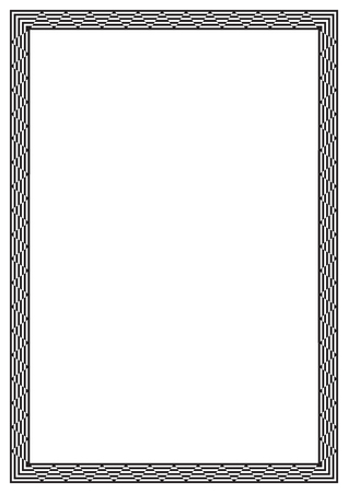 a4 borders: Black rectangular frame. Geometric pattern. A4 page size.