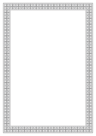 a4 borders: Black and gray ornate frame. A4 page proportions. Pattern brush is included in vector file. Illustration
