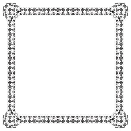 interlaced: Square black ornate frame, interlaced lines. Illustration