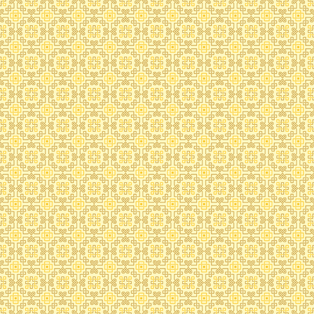 interlaced: Ornate seamless pattern, interlaced lines. Shades of yellow. The swatch is included in vector file. Arabic style.