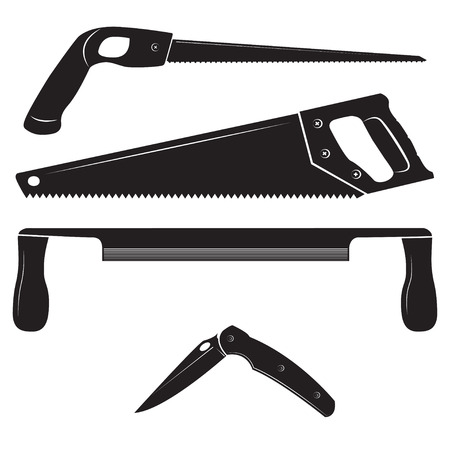 woodsman: Construction tools icons. Keyhole saw, handsaw, drawknife and folding knife.