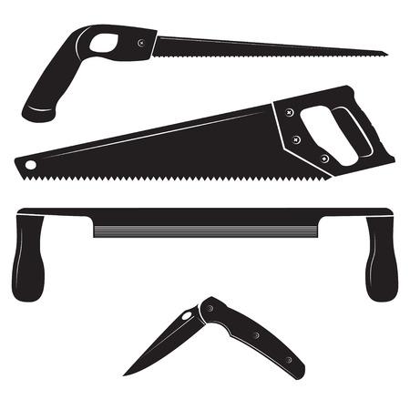 serrucho: Herramientas de la construcción del vector. sierra de calar, sierra de mano, drawknife y cuchillo plegable.