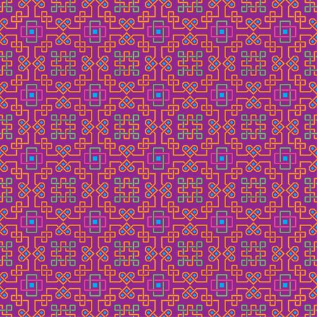 saturated: Ornate seamless pattern, interlaced lines. Bright, saturated colors. The swatch is included in vector file. Arabic style.