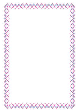 imitation: Decorative rectangular frame, cross-stitched embroidery imitation. A4 page proportions.