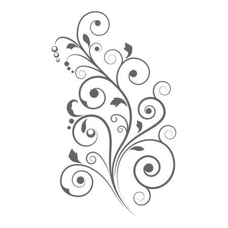 vignette: Black floral vignette, decorative element, stencil.