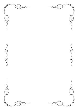 a4 borders: Rectangular vignette frame. A4 page proportions. Illustration