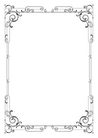 Whimsical black rectangular frame. A4 page proportions. Illustration