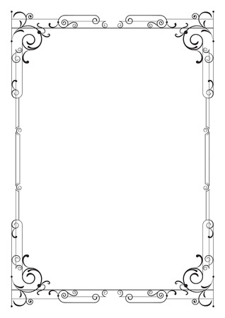 a4 borders: Whimsical black rectangular frame. A4 page proportions. Illustration