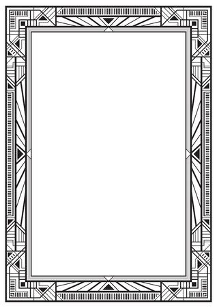 黒の長方形のレトロなフレーム、1920 年代のアールデコ様式。A4 ページの割合。 写真素材 - 68133636