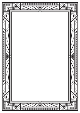 a4 borders: Black rectangular retro frame, art deco style of 1920s. A4 page proportions.