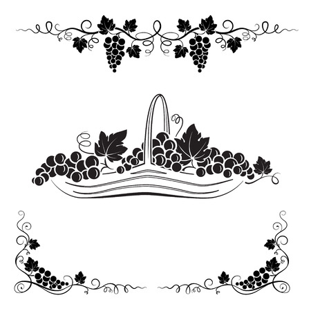 Bunch of grapes, leaves, vignettes and basket with grapes. Black decorative elements.
