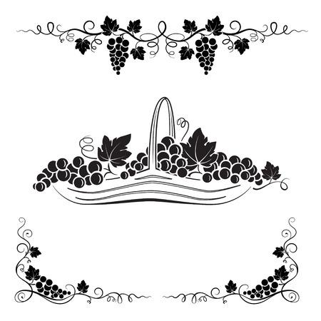 Grappolo d'uva, foglie, vignette e cestino con l'uva. elementi decorativi neri. Vettoriali