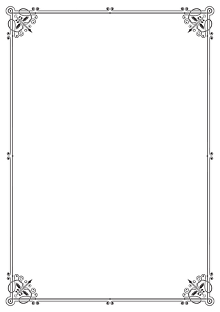 a4 borders: Ornate black rectangular frame, page decoration, corners. A4 page proportions.
