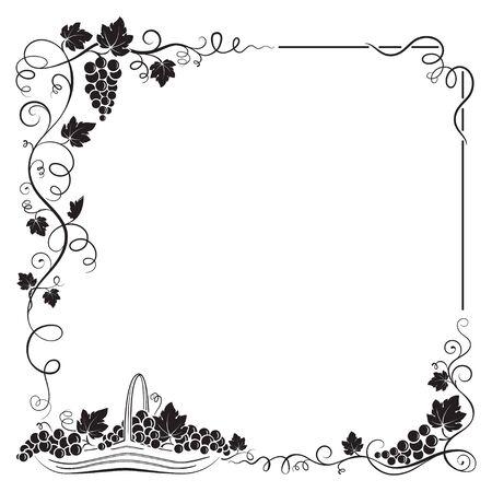 Decorative black frame formed by bunch of grapes, vines, leaves, vignettes and basket with grapes. Illustration