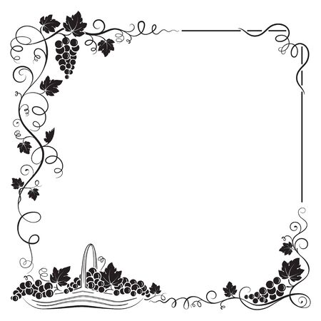 Decorative black frame formed by bunch of grapes, vines, leaves, vignettes and basket with grapes. 向量圖像