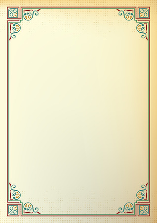 Ornate rectangular frame, color background. Page decoration, corners. A4 page proportions. Illustration