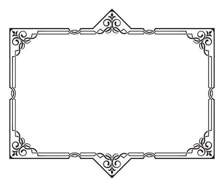 visually: Ornate black frame. Visually overlapped lines. Corners, page decoration.