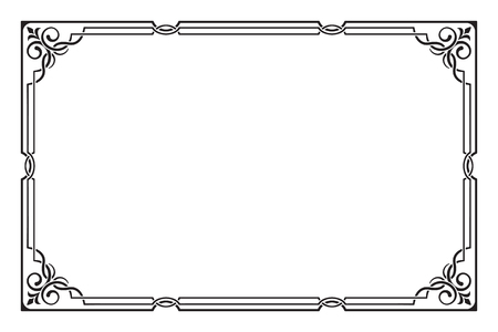 visually: Ornate rectangular black frame. Visually overlapped lines. Corners, page decoration. Illustration