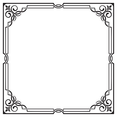 visually: Ornate black square frame, corners. Visually overlapping lines.