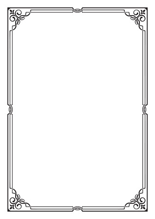 visually: Ornate black frame, corners. Visually overlapping lines. A4 page proportions. Illustration