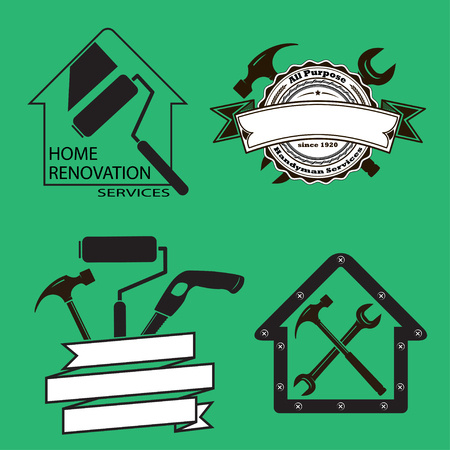 Black and white icons with hand tools. House remodeling, renovation and redecoration services. Workshop icon.