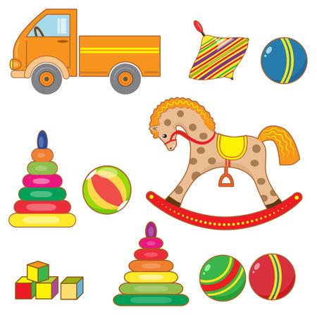 boll: Set of kids toys. Spinning top, pyramid, blocks, car, wooden horse, balls.