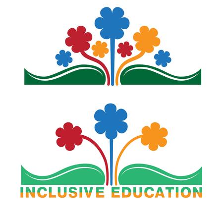 Logo für integrative Bildung, Konzept der Gleichheit der verschiedenen Menschen. Buch und Blumen in verschiedenen Farben.