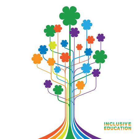 Logo für inklusive Bildung, Konzept der Gleichheit verschiedener Menschen. Abstrakter Baum mit Blumen von Regenbogenfarben. Logo