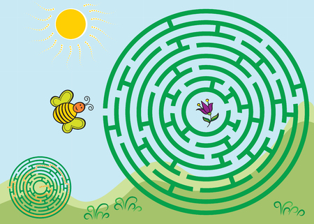 Round green maze game with solution. Bee flying to a flower. Illustration