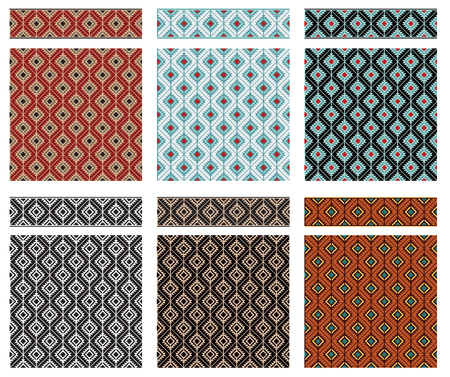 colore: Set of seamless geometric textures and borders, American Indians tribal style. Swatches and pattern brushes included in vector file.