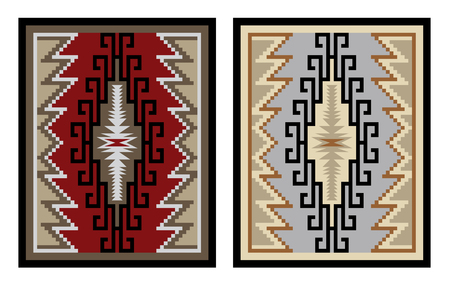 rug texture: Colorful geometric pattern, blanket, banner. American Indians style. Navajo tribe style. Illustration