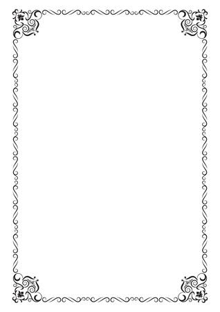 Ornate black rectangular frame. A4 page proportions. Illustration