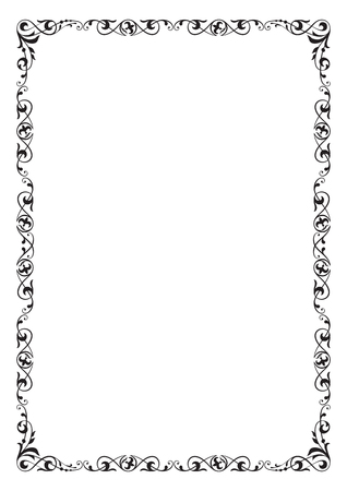 Black rectangular ornate frame, page decoration. A4 page proportions. Фото со стока - 79327274
