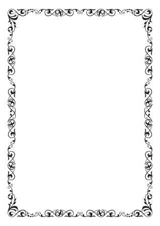 Zwart rechthoekig overladen kader, paginadecoratie. Verhoudingen van A4-pagina's.