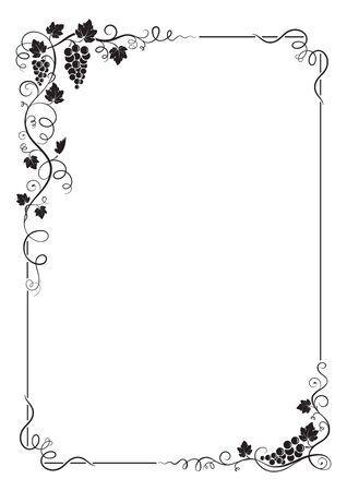 포도, 잎, 덩굴, 소용돌이의 무리와 함께 장식 사각형 프레임. A4 페이지 비율.