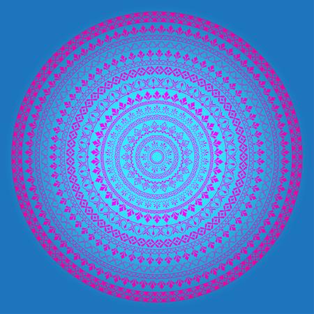 Magenta ornate round borders on blue background, mandala, decoration. Transparency overlay effect applied. Illusztráció