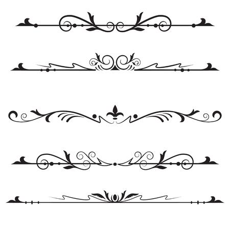 Set headers, tekstverdelers, elementen voor pagina-decoratie. Zwarte kleur.
