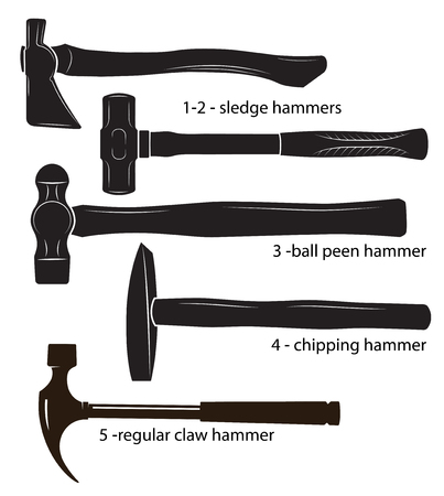 Different types of hammers: sledge hammers, ball peen hammer, chipping hammer, regular claw hammer. Black and white images, silhouettes. Illustration