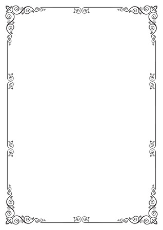Ornate rectangular black frame for page decoration, title, card, label. A3 page proportions. Ilustracja