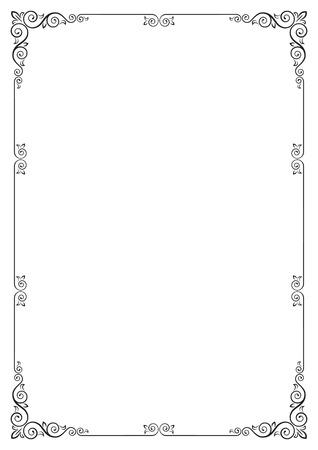 Ornate rectangular black frame for page decoration, title, card, label. A3 page proportions. Ilustração