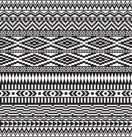 Black geometric seamless pattern, American Indians tribal style.
