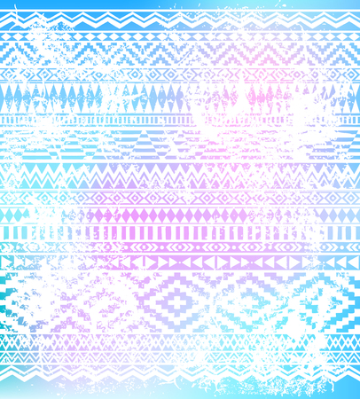 Geometric hand drawn white pattern on grunge isolated background. American Indians tribal style