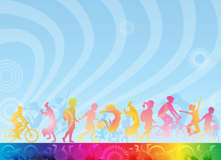 Template for banner, book cover, leaflet for children. Healthy lifestyle. A3 page. Stock Photo
