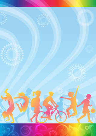 Template for diploma, certificate, leaflet for children. Banner of healthy lifestyle. A3 page.