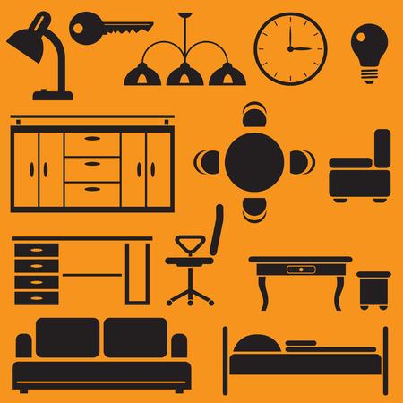 Set van zwarte platte pictogrammen van meubels en begeleidende artikelen.