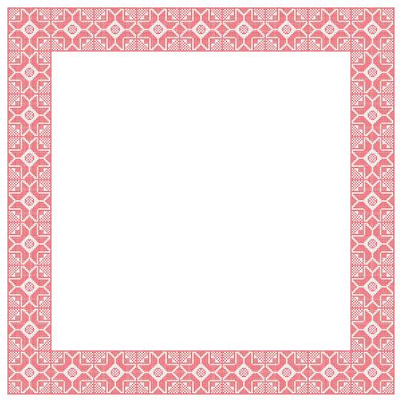 Cadre carré décoratif, imitation de broderie au point de croix. Banque d'images - 85264718