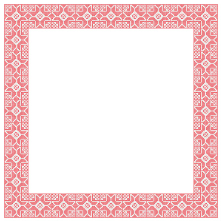 Quadro quadrato decorativo, imitazione ricamato incrociato. Archivio Fotografico - 85264718