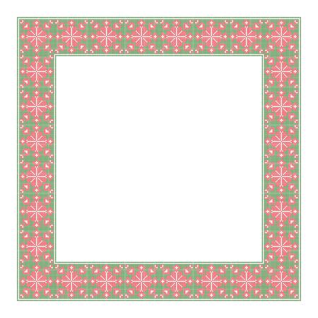 Decoratief vierkante frame, cross-stitched embroidery imitatie.